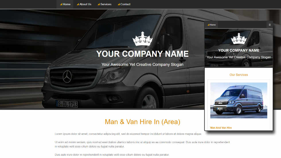 Free Responsive Man And Van Website Template
