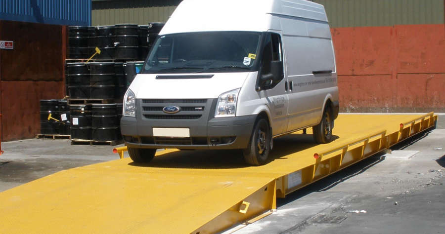 White Ford Transit Van On A Weighbridge
