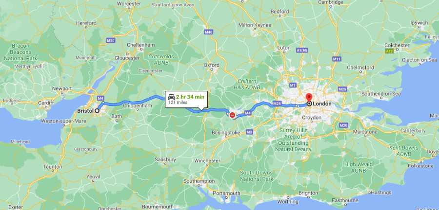Driving Distance Bristol To London - Range 121 Miles (194km)