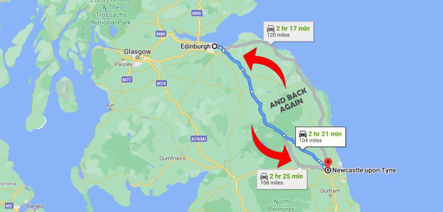 Driving Distance Edinburgh To Newcastle - Range 104 Miles (167km)