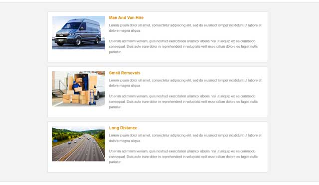 Man And Van Website Template Mid Section